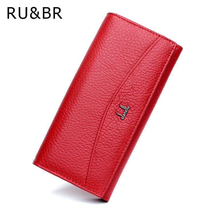 RU&BR Genuine Leather Wallet Simple Women Wallets And Purse Cowhide Women's Clutch Credit Cion Pocket Card Holder Ladies Wallets