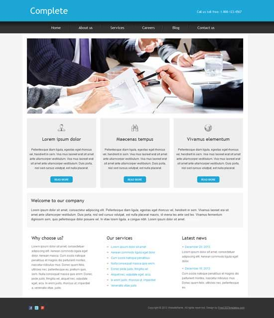 48 best free business html templates images on pinterest design complete is a free business html template designed in a clear and modern style for all kind of business cheaphphosting Gallery