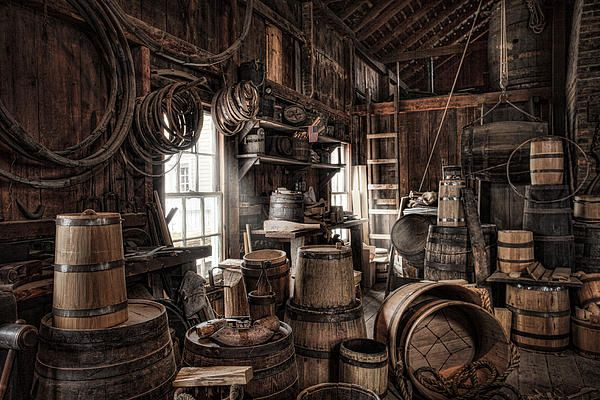 The Coopers Shop photograph by Gary Heller. --- Cooperage. Barrels and various vessels and various tools of the trade in this 19th Century workshop.  #Cooper #cooperage #barrels #19thcentury #artprints