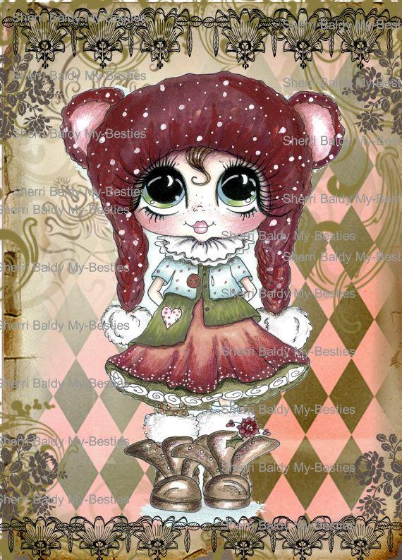 INSTANT DOWNLOAD Digital Digi Card Topper Paper 212 Besties Big Head Dolls Digi By Sherri Baldy