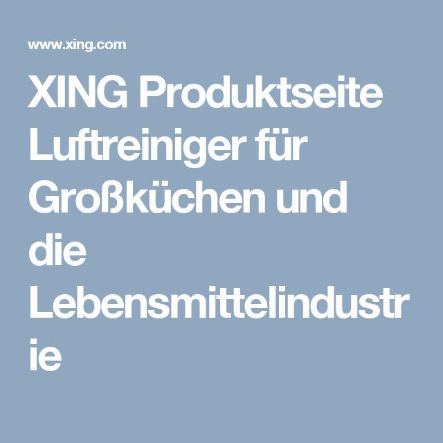 XING Produktseite Luftreiniger für Großküchen und die Lebensmittelindustrie