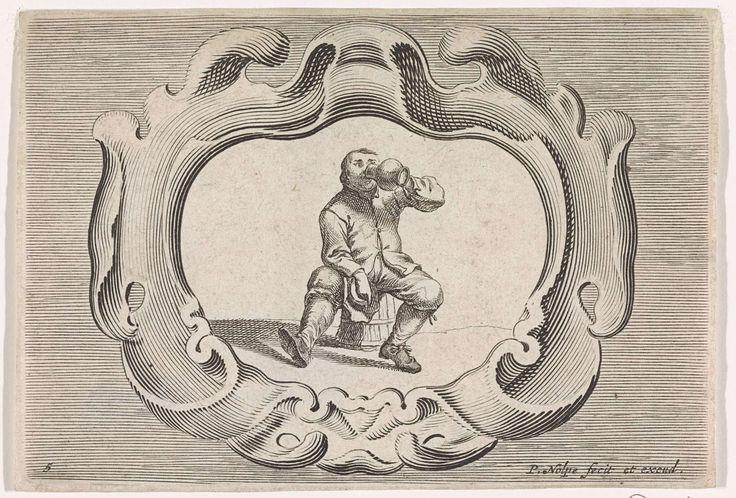 Pieter Nolpe | Drinkende boer, Pieter Nolpe, 1623 - 1653 | Een boer, zittend op een houten emmer, drinkt uit een kruik. In zijn andere hand houdt hij zijn hoed. De voorstelling is gevat in een schulpvormig cartouche. Prent maakt deel uit van een serie met scènes uit het boerenleven.