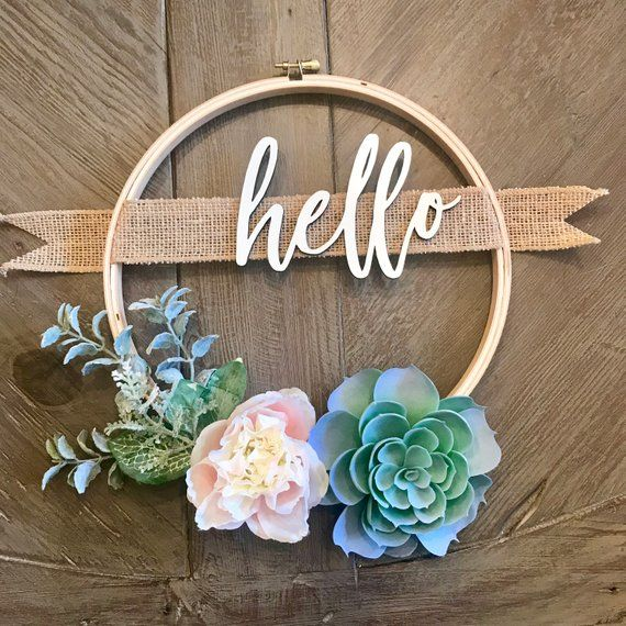10in Custom Wreath Succulent Wreath With Family Name Or Custom Greeting Personalized Gift Hoop Wreath Farmhouse Decor Rustic Decor Succulent Wreath Diy Wreath Decor Diy Wreath