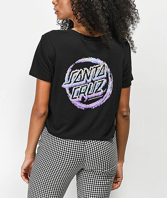 aa79e376a40b1 Santa Cruz Throwdown Dot Black Cropped T-Shirt in 2019