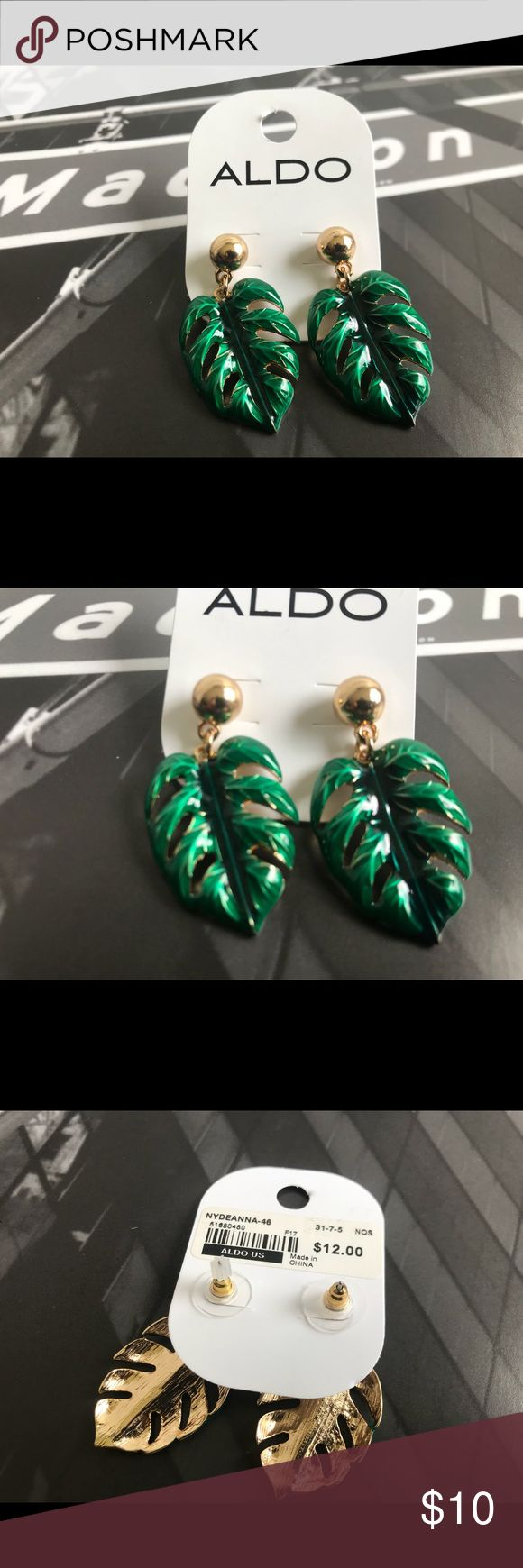 🙌🏾Brand New Aldo Leaf Earrings #0258AO Emerald green gold trimmed shaped leaf earrings. Also has a matching necklace. Nydeanna-46. Bundle and Save 10%.  #earrings #women #gold #green #leafshaped #accessories Aldo Jewelry Earrings