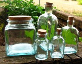 Clear, Blue, and Recycled Glass Jars from Mountain Rose Herbs