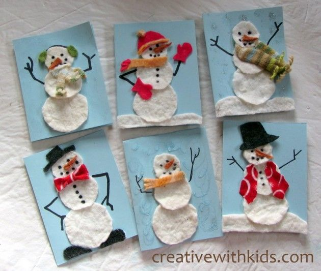 Fabric Scrap Snowman Cards. These are cards but would be cute to let toddler arrange and rearrange snowmen.