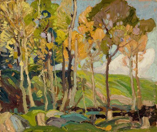 Franklin Carmichael, Orilla, Ontario, 1890-Toronto 1945, Étude d'arbres: automne, 1920, huile sur panneau.