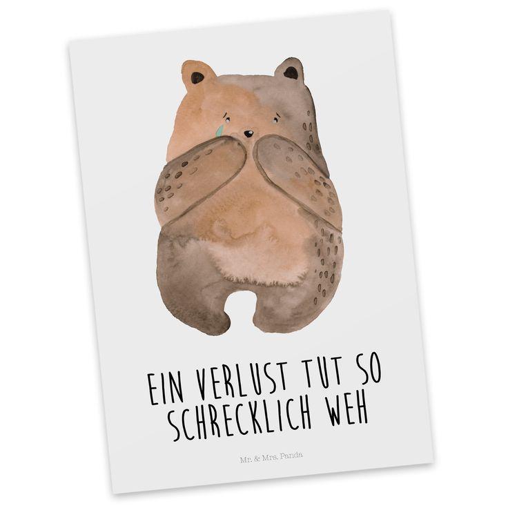 Postkarte Bär Verlust aus Karton 300 Gramm  weiß - Das Original von Mr. & Mrs. Panda.  Diese wunderschöne Postkarte aus edlem und hochwertigem 300 Gramm Papier wurde matt glänzend bedruckt und wirkt dadurch sehr edel. Natürlich ist sie auch als Geschenkkarte oder Einladungskarte problemlos zu verwenden. Jede unserer Postkarten wird von uns per hand entworfen, gefertigt, verpackt und verschickt.    Über unser Motiv Bär Verlust  Der Verlust Bär ist das perfekte Geschenk um einen wichtigen…