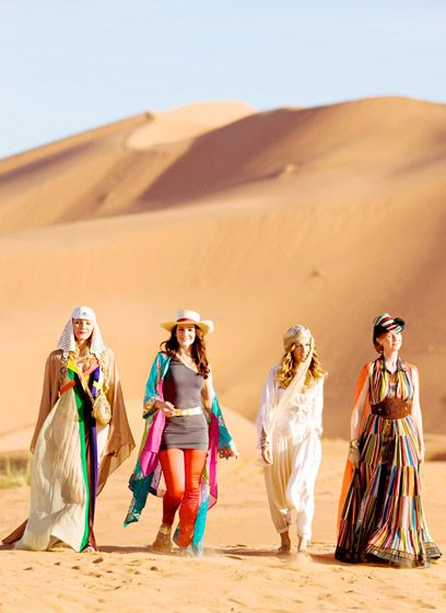 The Sex in the City ladies wore brightly colored Moroccan garb for a vacation scene in SATC2.
