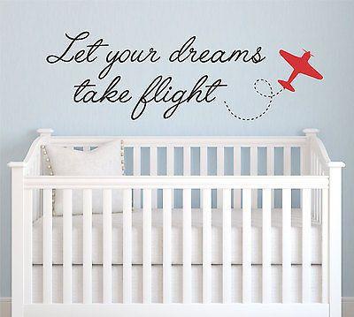 Let Your Dreams Take Flight Quote Childrenu0027s Nursery Vinyl Wall Decal  Sticker