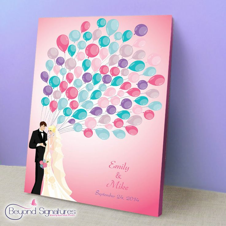 Have the poster design printed on a canvas for a completely different look!  Wedding guests can sign straight onto the canvas using a permanent marker.