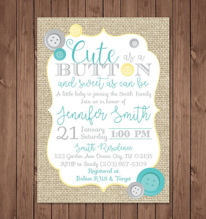 Cute as a Button Baby Shower Invitation | Cute as a button | Baby Shower Invitation | Gender Neutral | Burlap by bauderdesignstudio on Etsy