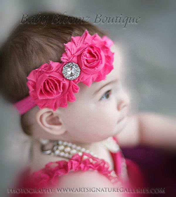Hot pink Headband Baby Headband Shabby Chic double Headband baby bow newborn headband toddler headband. $7.95, via Etsy.