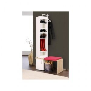 dreh garderobe twister mit bank in wei home and garden. Black Bedroom Furniture Sets. Home Design Ideas