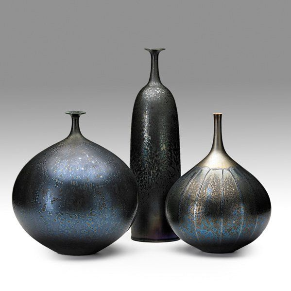 HIDEAKI MIYAMURA Three Porcelain Vases Black Tenmoku Crystalline Glaze Kensington NH Modern CeramicsContemporary
