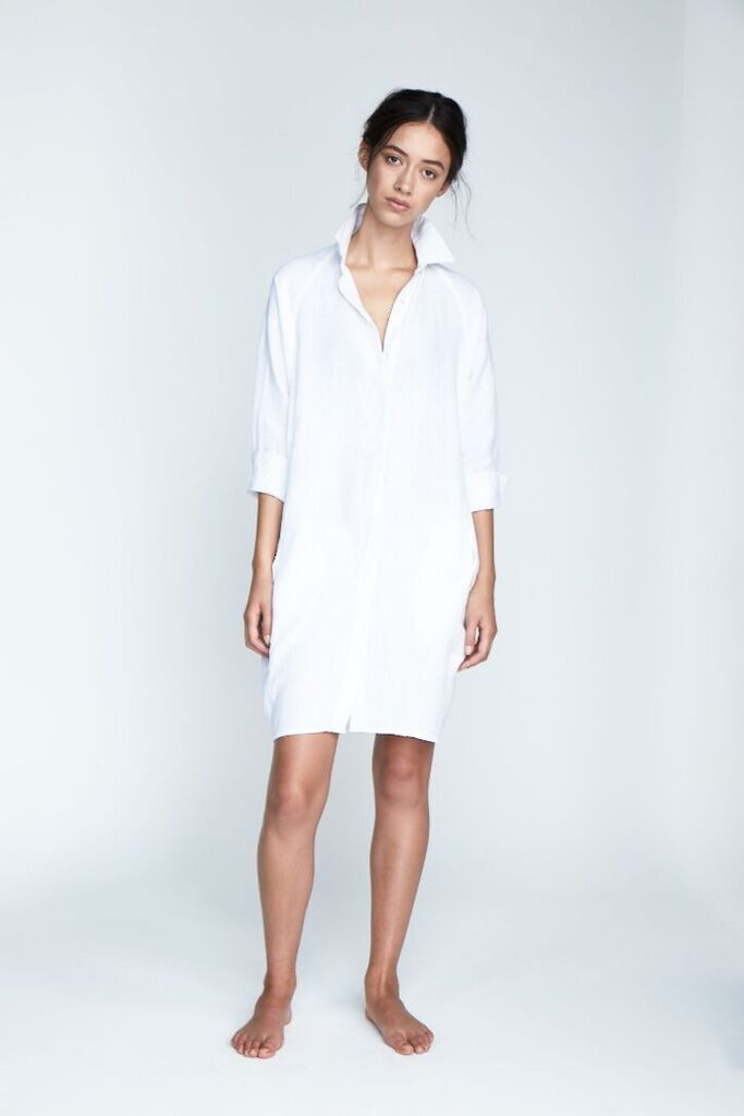 The 'Evie' Shirt Dress in Snow - Andrea & Joen French Linen Loungewear Collection shot by Sylve Colless