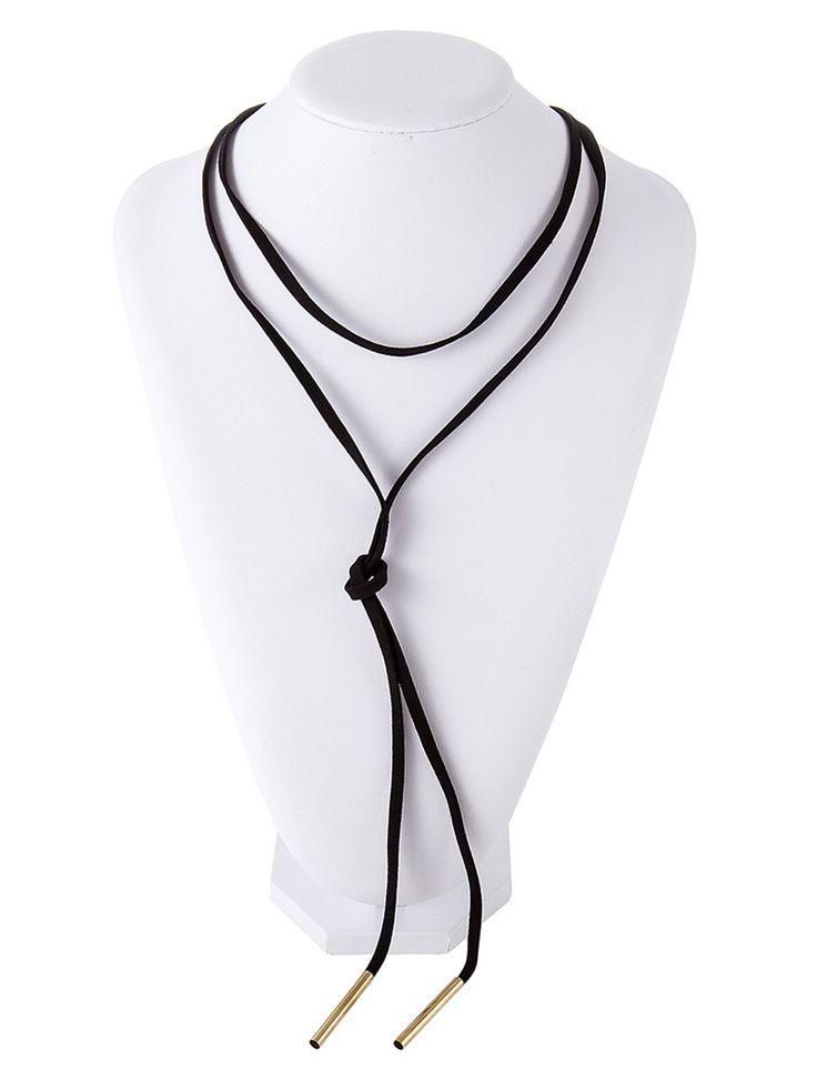 Black Double Cord Choker Necklace