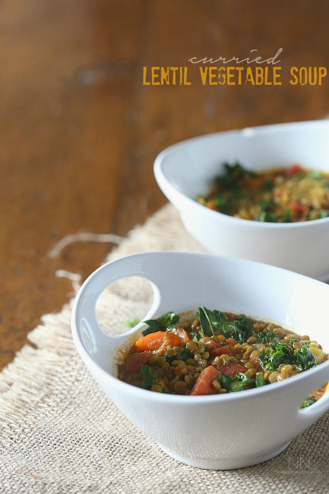 curried lentil vegetable soup is packed full of small green lentils ...