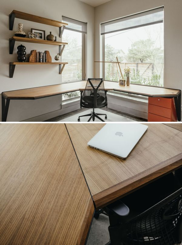 Tables Custom Floating Office Desk With Matching Shelves Buy
