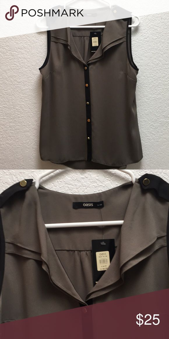 Oasis Button Down Blouse Bought in London. Never worn. Photo doesn't show color well. It's hunter green with black detailing and gold buttons. Oasis Tops Blouses