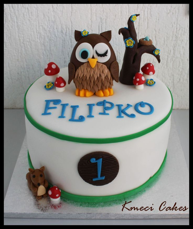 owl cake woodland friends