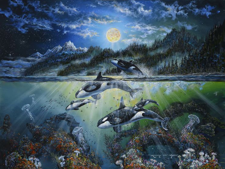 Theatre of the North by Robert Lyn Nelson ~ orcas dancing by the moonlight under sea art oil & acrylic on canvas