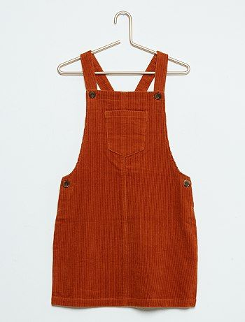 Vestido macacão de bombazina                                                                 naranja Menina 3-12 anos   - Kiabi