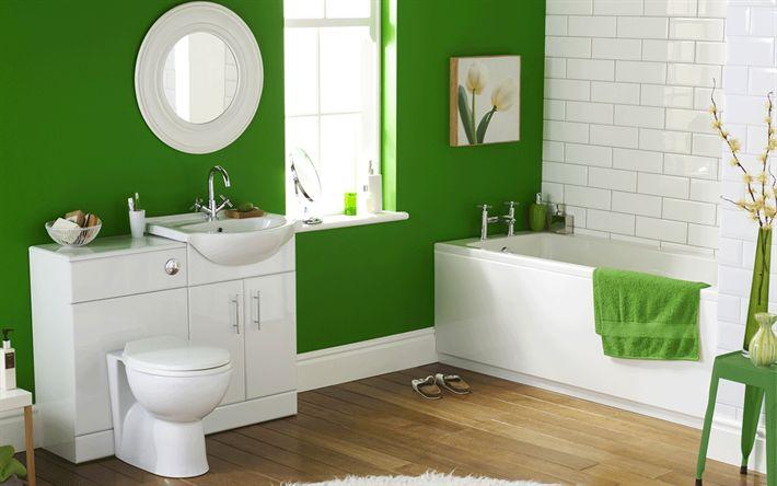 Télécharger fonds d'écran les salles de bains, Éclectique intérieur, Moderne, intérieur, vert, salle de bains, idées de salle de bains, Éclectique salles de bains de style