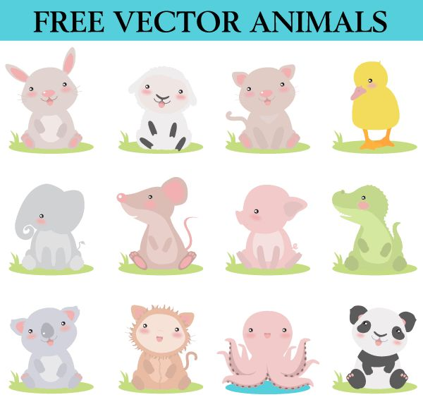 Free Cute Cartoon Animals Vector Images Free Vector #freevector #freeimages #freeclipart