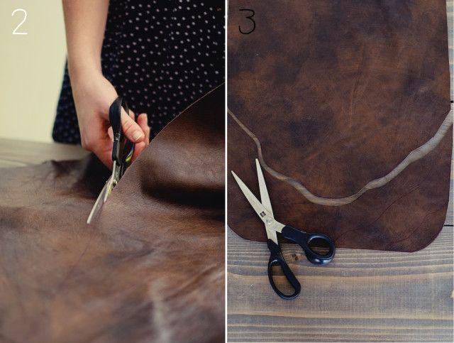 maak je eigen tas, diy tas, suede tas maken, op leer naaien, leren stof naaien