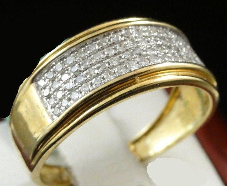 NEW MENS YELLOW GOLD FINISH ROUND CUT DIAMOND WEDDING BAND PINKY RING 2.00 CT #br925silverczjewelry #MensWeddingBandRing