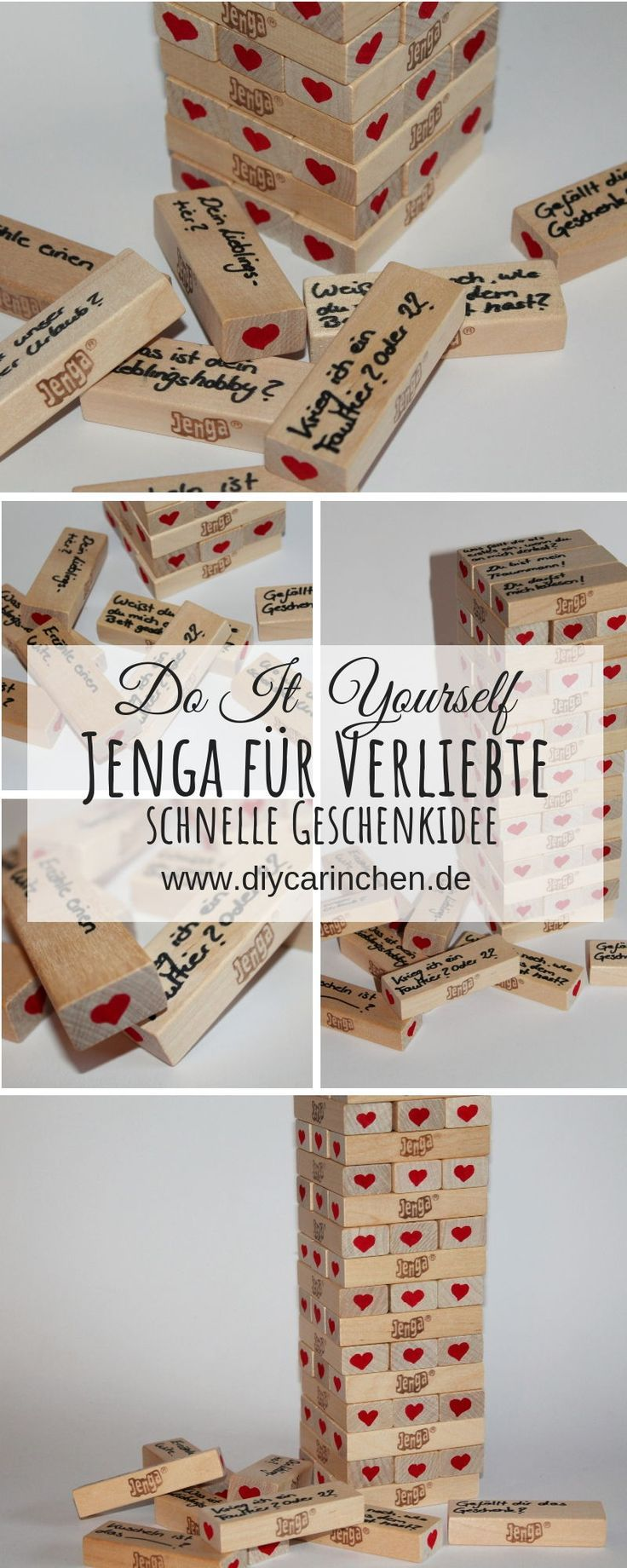 DIY Jenga Spiel für Verliebte ganz einfach selber machen – perfekte Geschenkide… – DIYCarinchen – DIY Ideen: Basteln, Geschenke, Deko, und Wohnen