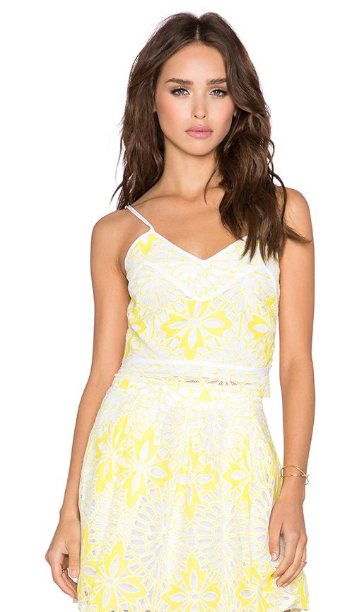Chloe Oliver Sandy Crop Top in White & Canary   REVOLVE