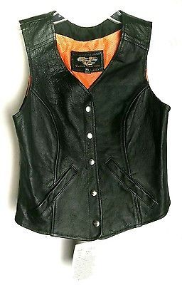 Vance Leathers Womens 5 Snap Plain Side Milled Motorcycle Leather Vest Size XS
