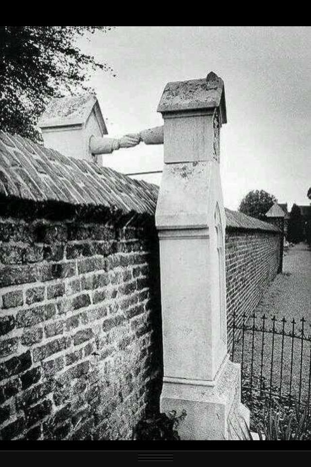 Graves of a Catholic woman and her Protestant husband, who were not allowed to be buried together.. Netherlands, 1888.