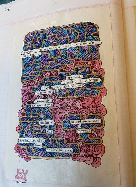 Altered book art project.... A page taken from an old book, with certain words left uncovered by painting to create a found poetry style statement, then applied to a page in an old style type journal/ledger