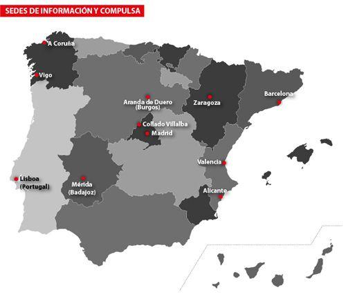 Mapa de centros de Información y compulsa