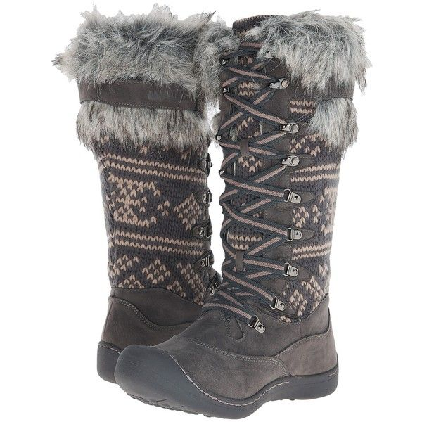 MUK LUKS Gwen Tall Snow Boot Women's Cold Weather Boots, Gray ($98) ❤ liked on Polyvore featuring shoes, boots, grey, knee-high boots, high lace up boots, lace up knee boots, tall boots, knee high boots and fuzzy boots
