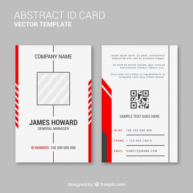 Download Abstract Id Card Template With Flat Design For Free Id Card Template Create Business Cards Printing Business Cards