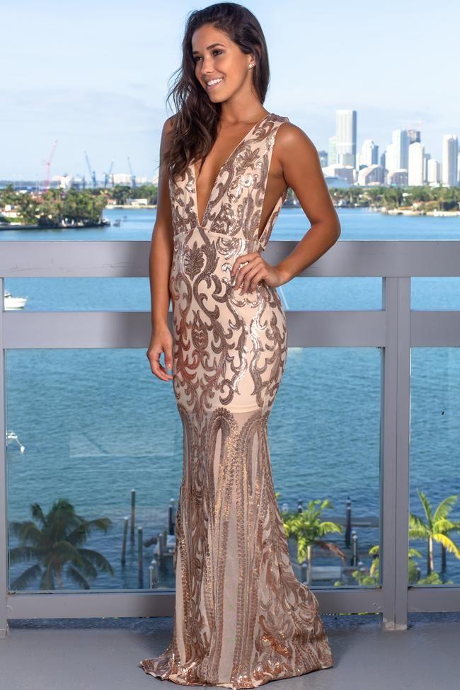 77ddb34e8a Rose Gold V-Neck Sequin Maxi Dress