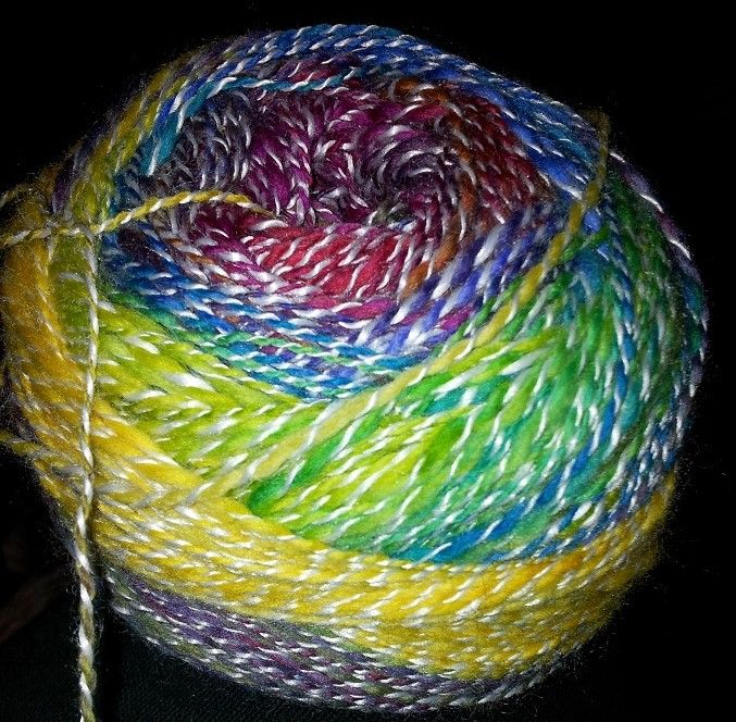 Hand spun using Kathy's fibres 'stained glass' colour with bamboo - the colours are so amazing