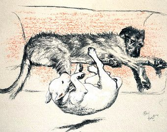Cecil Aldin Dog Print 1929 D---NATION Wolfhound KICKS White Bull Terrier Off COUCH - Professionally Matted Illustration Ready to Frame