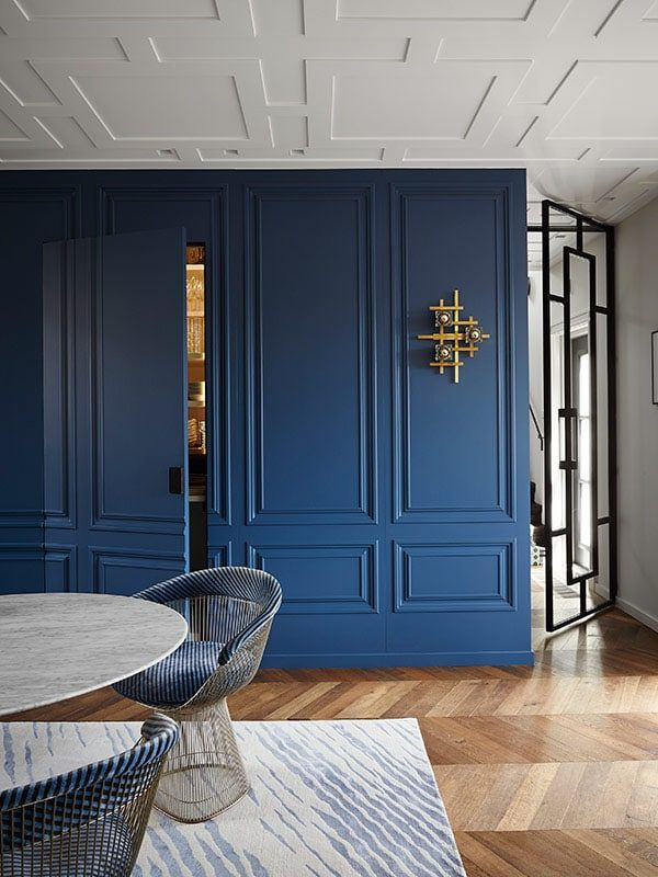 Les belles moulures salle à manger classique contemporaine bleue