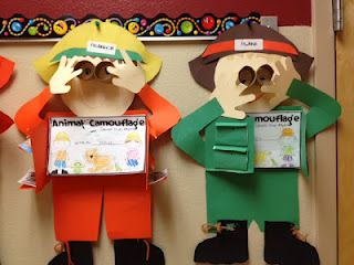 CAMPING THEME....I am thinking these would be cute for our camp classroom as campers. We could make the book be a fire safety book or instructions on how to set up a camp site. :)