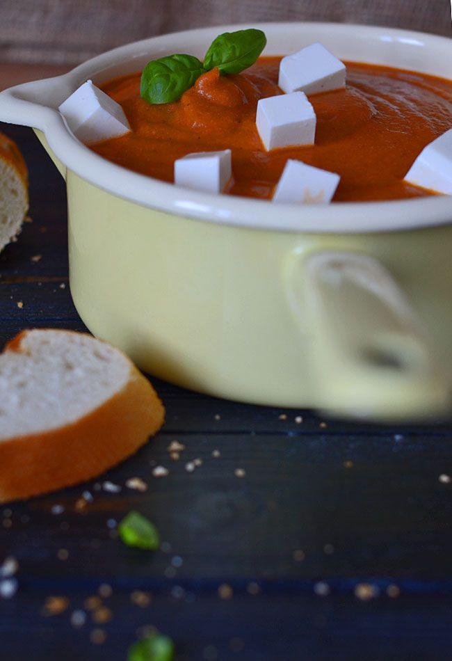 Zupa krem z pieczonej papryki i pieczonego kalafiora