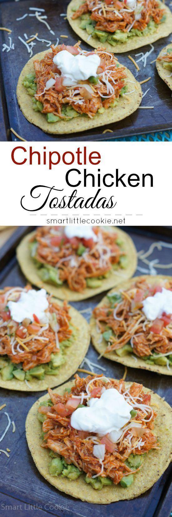 Chipotle Chicken Tostadas | smartlittlecookie... #VivaLaMorena #Ad