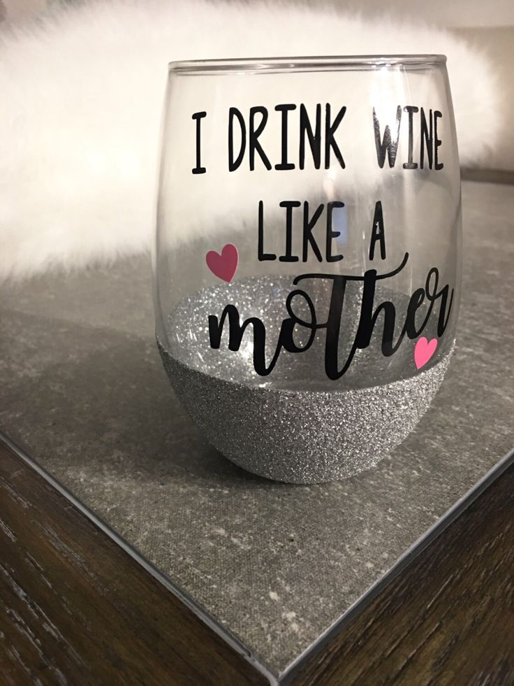 Wine Glasses - I drink wine like a mother - stemless wine glass - glitter dipped wine glass - funny glass - gift for her - gift for mom by FancyBeeBoutique on Etsy www.etsy.com/... CUTEST wine glass ever