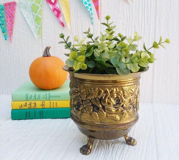 Vintage Brass Planter, messing Planter Pot, Boho bohemien, Mid Century Decor, rustieke boerderij