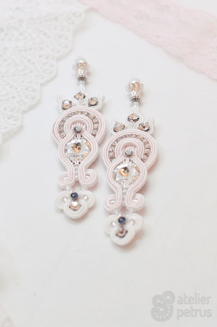 Misty rose  - handmade soutache wedding earrings with swarovski elements